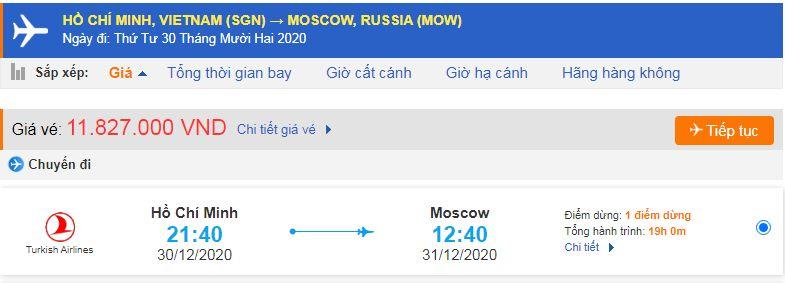 Vé máy bay đi xuất khẩu lao động Nga từ Hồ Chí Minh