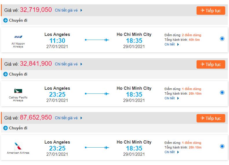 Giá vé máy bay từ Los Angeles về Việt Nam