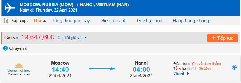 Giá vé máy bay khứ hồi Việt Nam Nga Vietnam Airlines