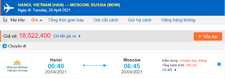 Giá vé từ Hà Nội đi Moscow