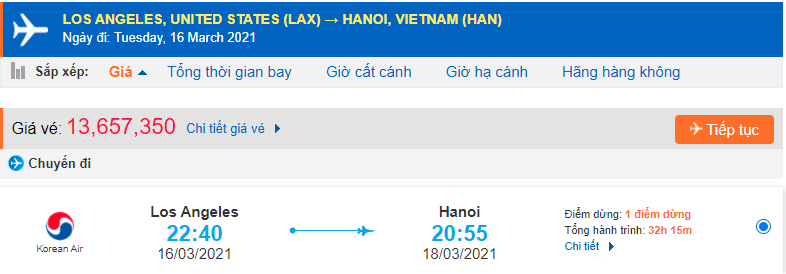 Vé máy bay Los Angeles về Việt Nam Korean Air