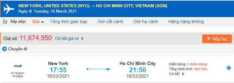 Vé máy bay New York về Hà Nội All Nippon Airways