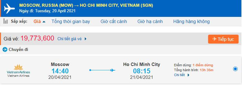 Vé máy bay từ Nga về Tp HCM