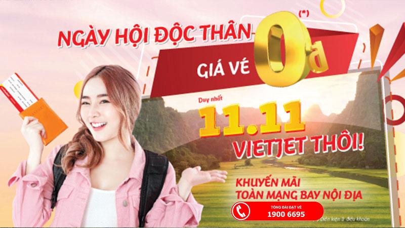 Vietjet Air khuyến mãi vé máy bay 0 đồng ngày hội độc thân