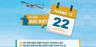 Vietnam Airlines khuyến mãi giảm 10% giá vé nhân ngày thành lập quân đội