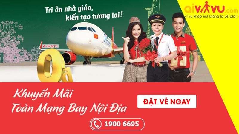 Vietjet Air khuyến mãi vé máy bay 0 đồng tri ân nhà giáo