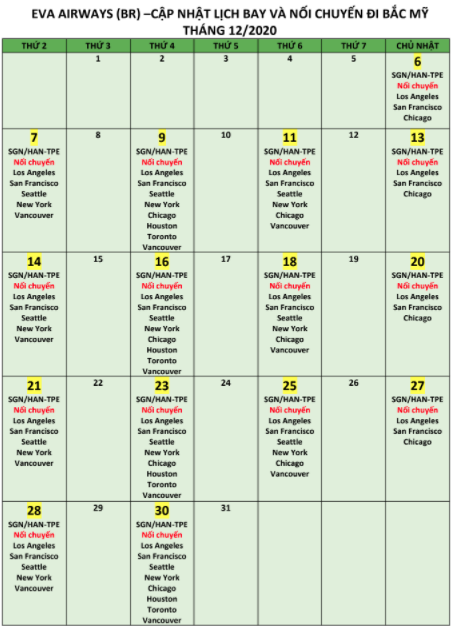 Cập nhật lịch bay tháng 12 Eva Air đi Taipei