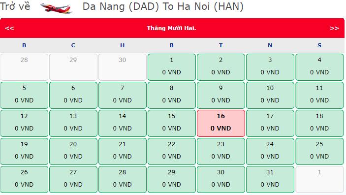 Vé máy bay 0 đồng Đà Nẵng đi Hà Nội