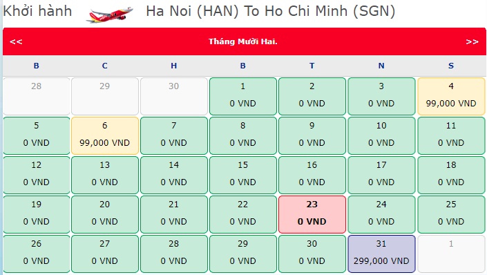 Vé máy bay 0 đồng Hà Nội đi Hồ Chí Minh
