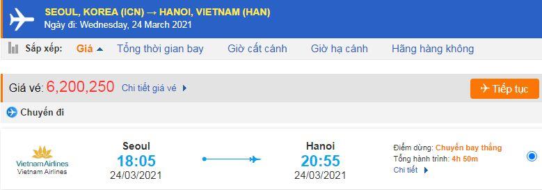 Vé máy bay từ Hàn Quốc về Việt Nam Vietnam Airlines