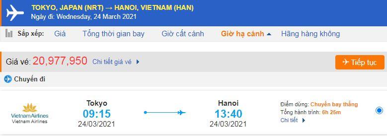 Vé máy bay từ Nhật Bản về Việt Nam Vietnam Airlines