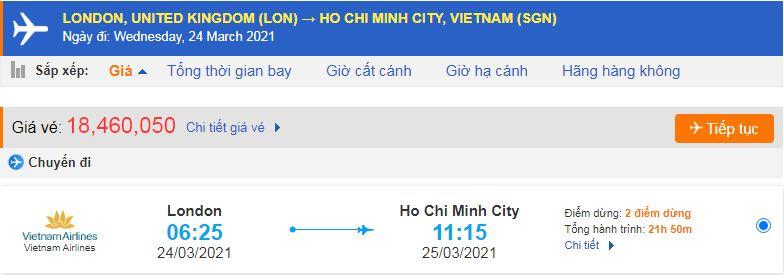 Vé máy bay từ Anh về Hồ Chí Minh