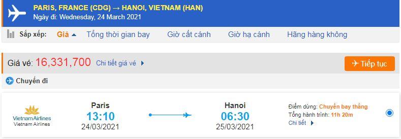 Vé máy bay Pháp về Việt Nam Vietnam Airlines