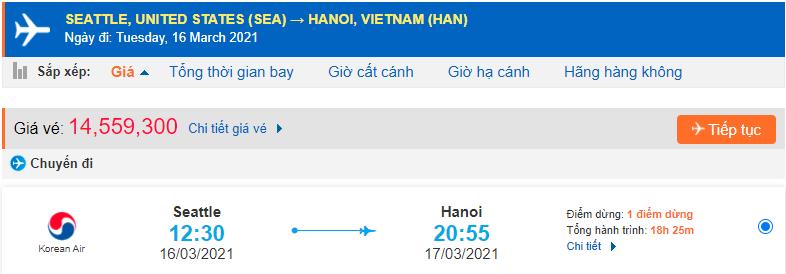 Vé máy bay từ Seattle Mỹ về Hà Nội