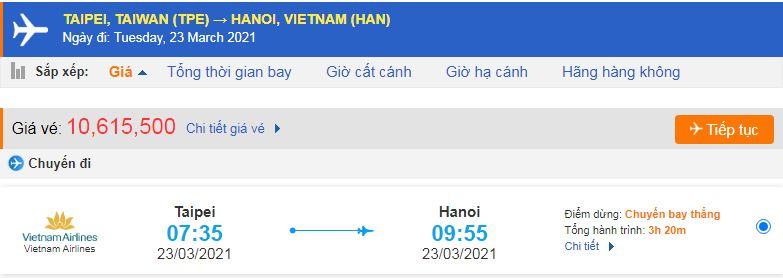 Vé máy bay từ Đài Loan về Việt Nam Vietnam Airlines