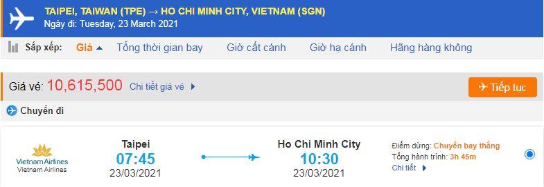 Vé máy bay từ Đài Loan về Hồ Chí Minh