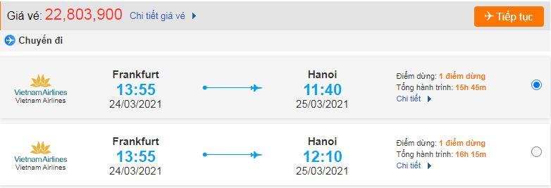 Vé máy bay từ Đức về Việt Nam Vietnam Airlines