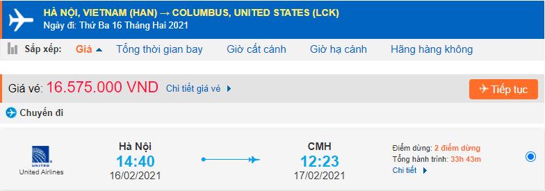 Vé máy bay đi Columbus Ohio từ Hà Nội United Airlines