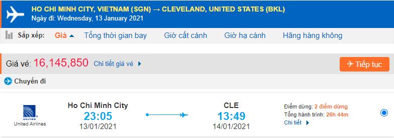 Vé máy bay từ Hồ Chí Minh Cleveland đi Ohio