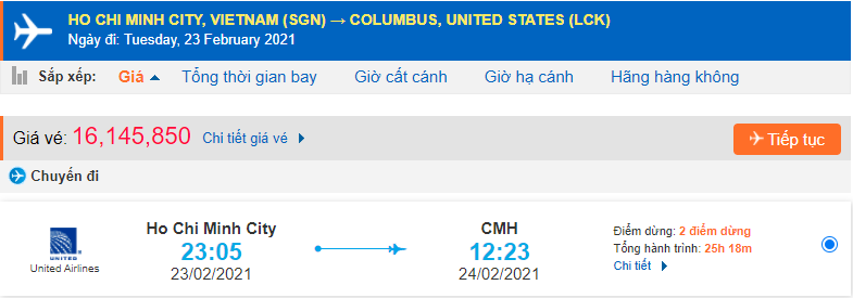 Vé máy bay đi Ohio Mỹ United Airlines