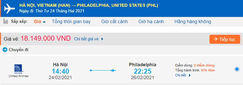 Vé máy bay đi Philadelphia từ Hà Nội