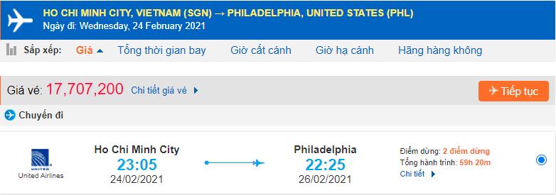 Vé máy bay đi Philadelphia từ Hồ Chí Minh United Airlines