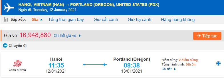 Vé máy bay đi Portland từ Hà Nội