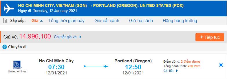 Vé máy bay đi Portland từ Hồ Chí Minh United Airlines