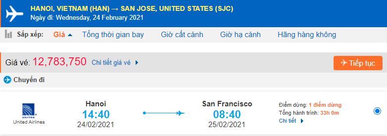 Vé máy bay đi San Jose từ Hà Nội