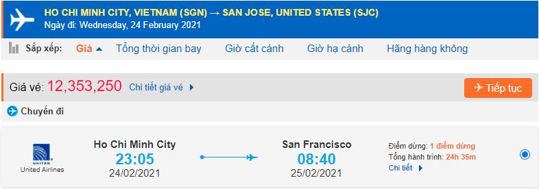 Vé máy bay San Jose từ Hồ Chí Minh