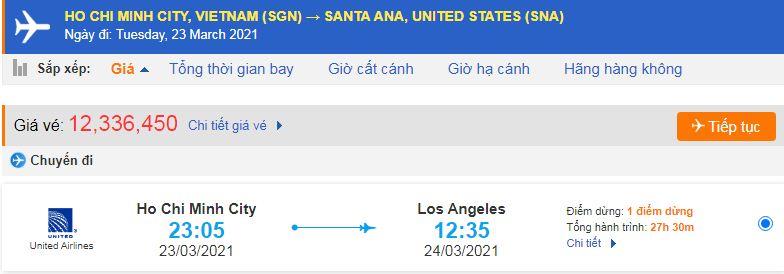 Vé máy bay đi Santa Ana từ Hồ Chí Minh