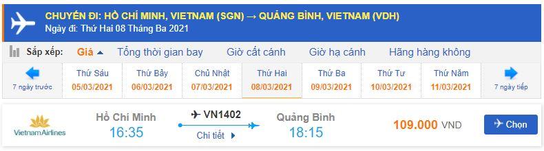 Vé máy bay đi Đồng Hới từ Hồ Chí Minh Vietnam Airlines