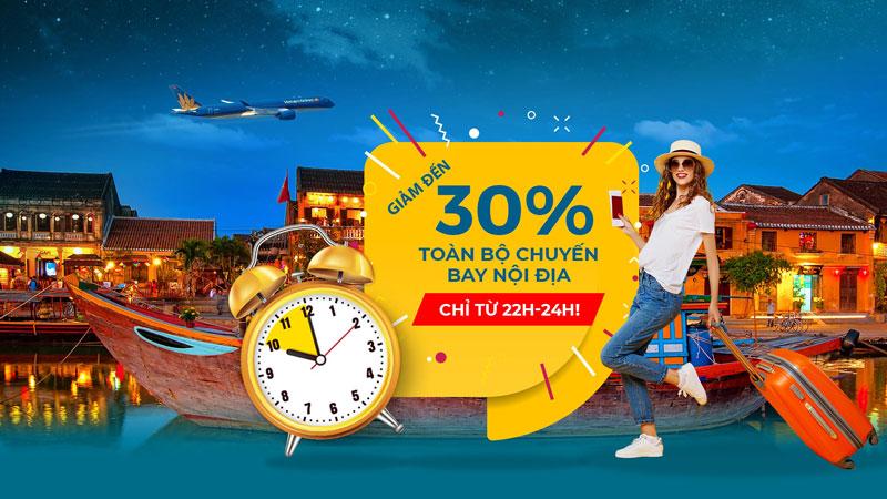 Khuyến mãi Mid – Night sales giảm 30% giá vé Vietnam Airlines