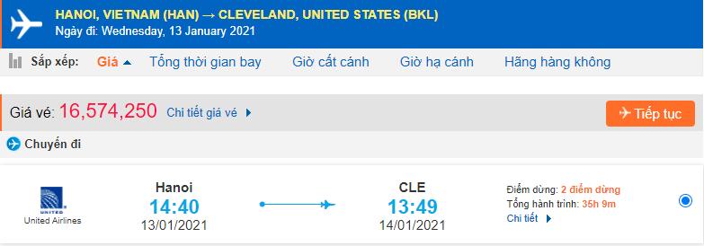 Giá vé máy bay từ Hà Nội đi Cleveland Ohio