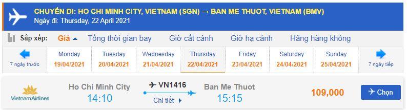 Vé máy bay Tp Hồ Chí Minh đi Buôn Ma Thuột