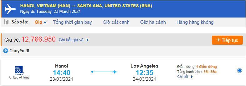 Vé máy bay đi Santa Ana rẻ nhất United Airlines