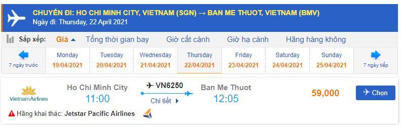 Giá vé máy bay Sài Gòn đi Buôn Mê Thuột Pacific Airlines