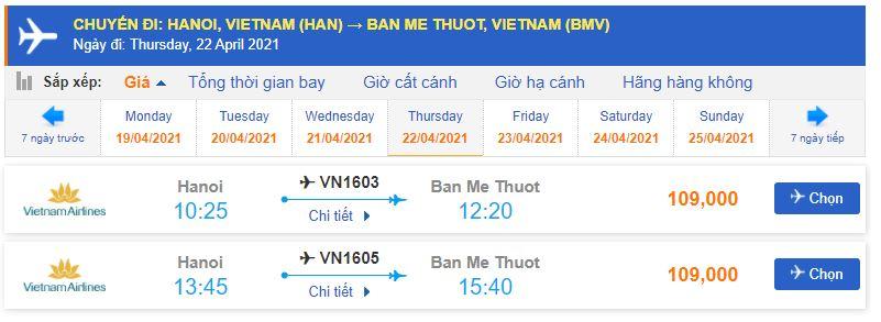 Giá vé máy bay Vietnam Airlines đi Buôn Ma Thuột