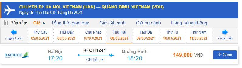 Giá vé máy bay đi Quảng Bình Bamboo Airways