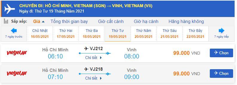 Vé máy bay Sài Gòn Vinh Vietjet