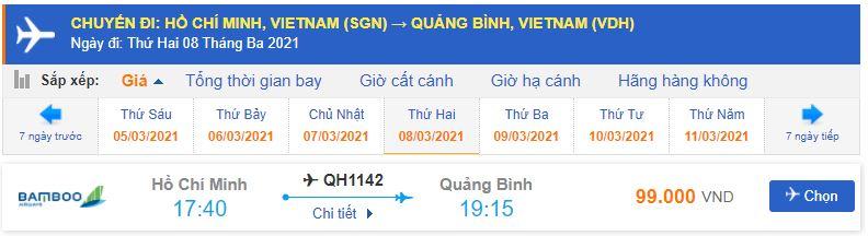 Vé máy bay Sài Gòn đi Đồng Hới Bamboo Airways