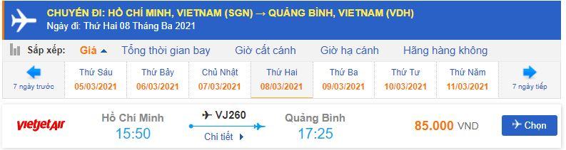 Vé máy bay Sài Gòn đi Quảng Bình Vietjet Air