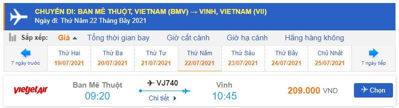 Giá vé máy bay Vietjet Air đi Vinh