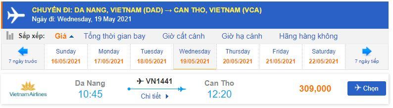 Giá vé máy bay Đà Nẵng Cần Thơ Vietnam Airlines