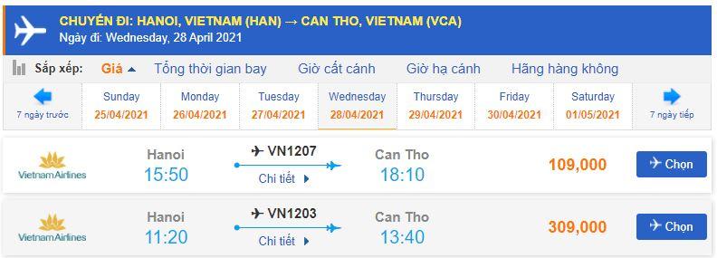 Giá vé máy bay từ Hà Nội đi Cần Thơ Vietnam Airlines
