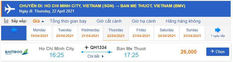 Giá vé máy bay từ TPHCM đi Buôn Ma Thuột