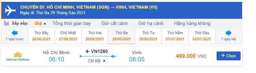 Giá vé máy bay Vietnam Airlines đi Vinh giá rẻ