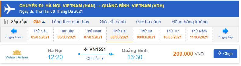 Vé máy bay đi Đồng Hới từ Hà Nội Vietnam Airlines