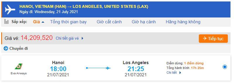 Giá vé máy bay Hà Nội - Los Angeles
