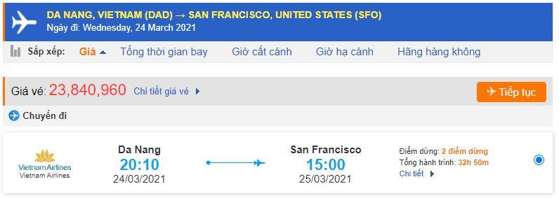 Vé máy bay từ Đà Nẵng đi San Francisco